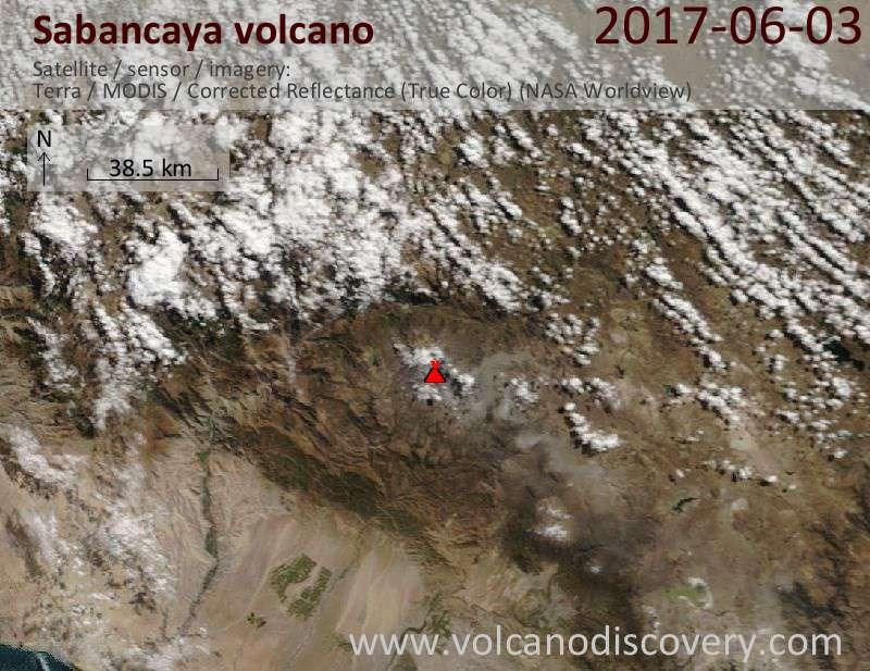 Satellite image of Sabancaya volcano on  3 Jun 2017