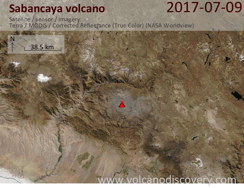 Satellite image of Sabancaya volcano on 10 Jul 2017