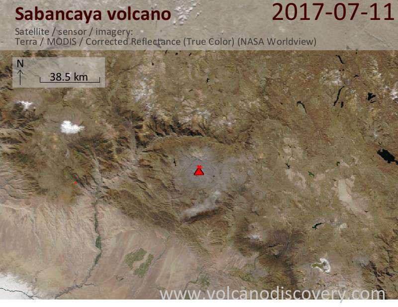 Satellite image of Sabancaya volcano on 12 Jul 2017
