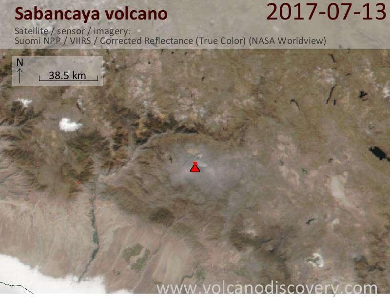 Satellite image of Sabancaya volcano on 14 Jul 2017