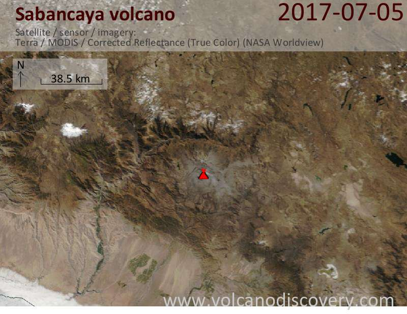 Satellite image of Sabancaya volcano on  6 Jul 2017