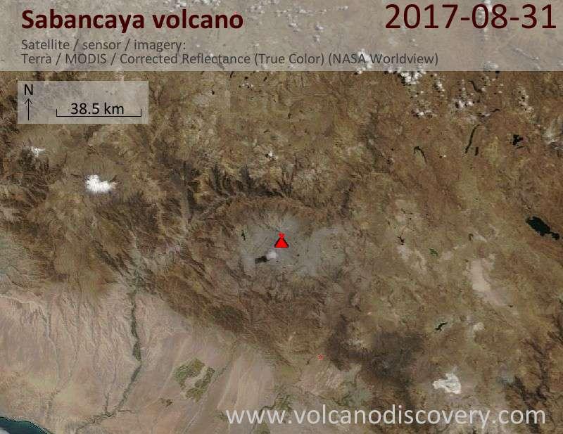 Satellite image of Sabancaya volcano on 31 Aug 2017