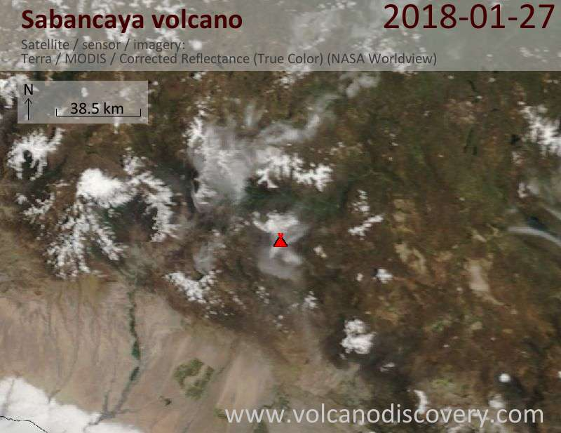 Satellite image of Sabancaya volcano on 27 Jan 2018