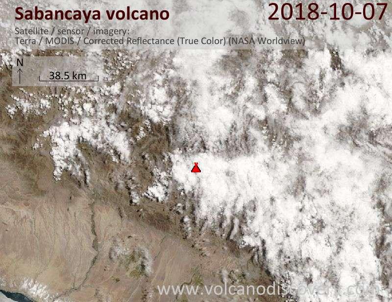 Satellite image of Sabancaya volcano on  7 Oct 2018