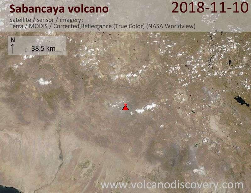 Satellite image of Sabancaya volcano on 10 Nov 2018