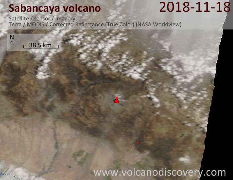 Satellite image of Sabancaya volcano on 18 Nov 2018