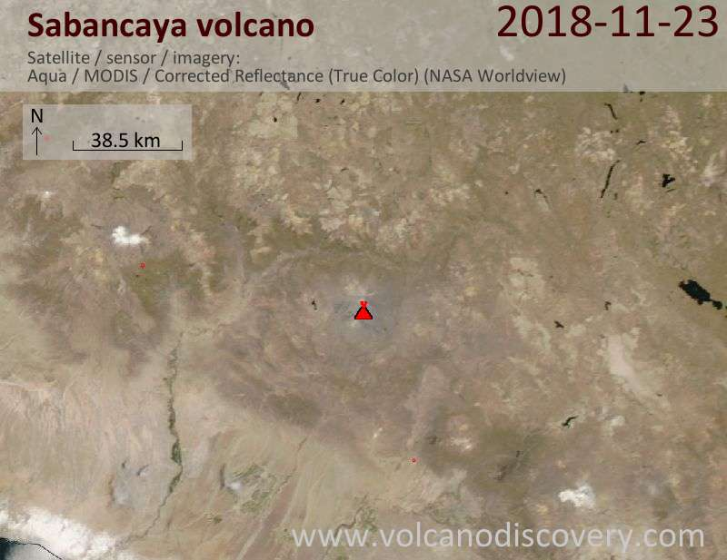 Satellite image of Sabancaya volcano on 23 Nov 2018