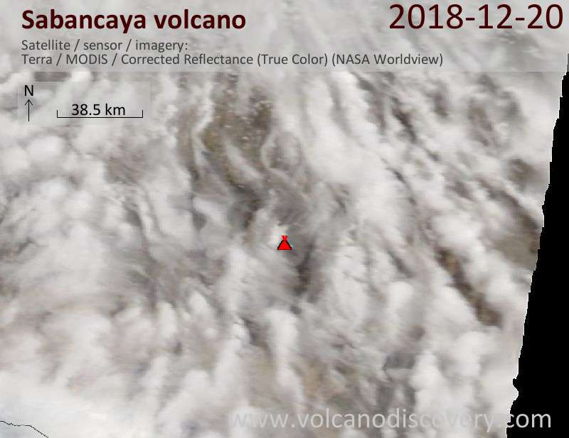 Satellite image of Sabancaya volcano on 20 Dec 2018
