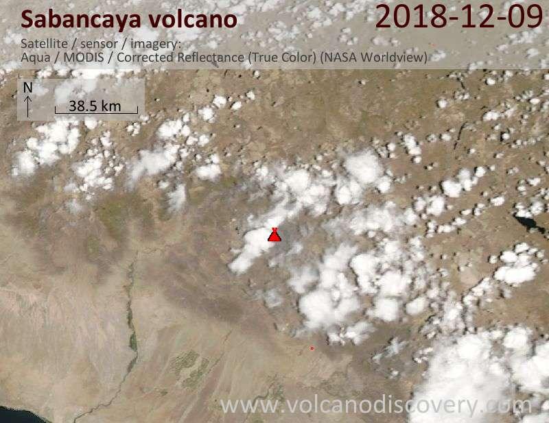 Satellite image of Sabancaya volcano on  9 Dec 2018