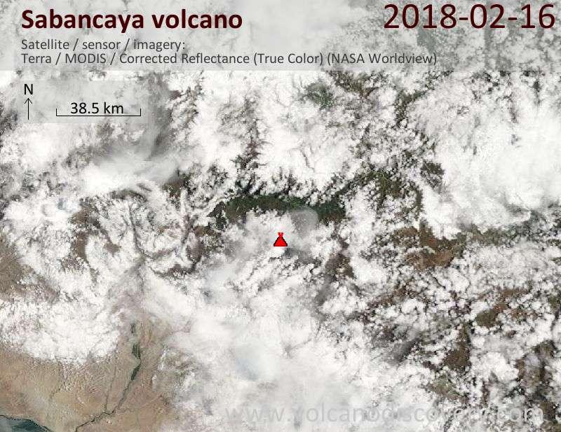 Satellite image of Sabancaya volcano on 16 Feb 2018