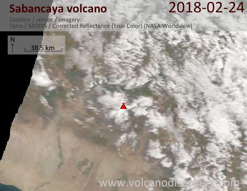 Satellite image of Sabancaya volcano on 24 Feb 2018