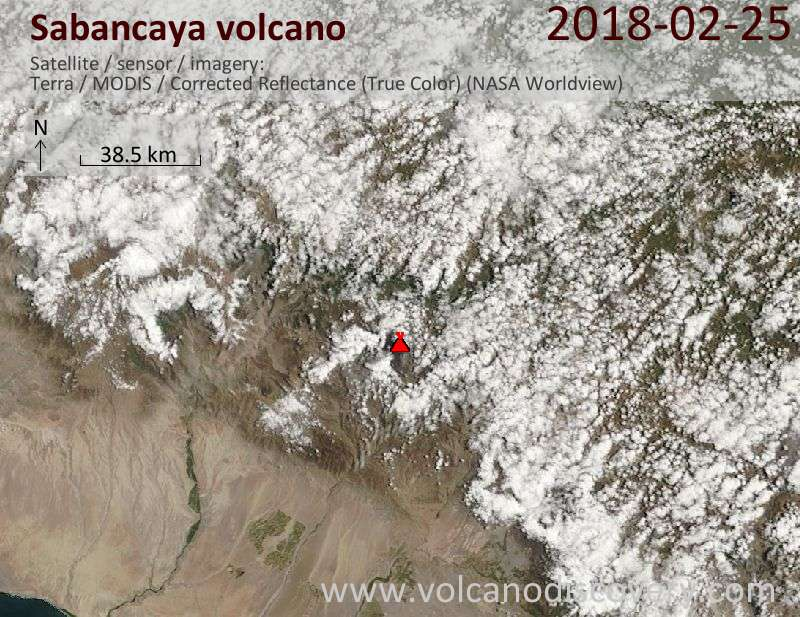 Satellite image of Sabancaya volcano on 25 Feb 2018