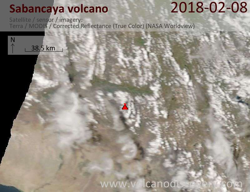 Satellite image of Sabancaya volcano on  8 Feb 2018