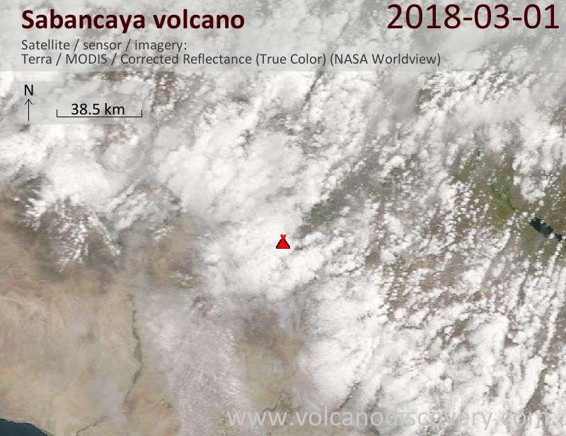 Satellite image of Sabancaya volcano on  1 Mar 2018