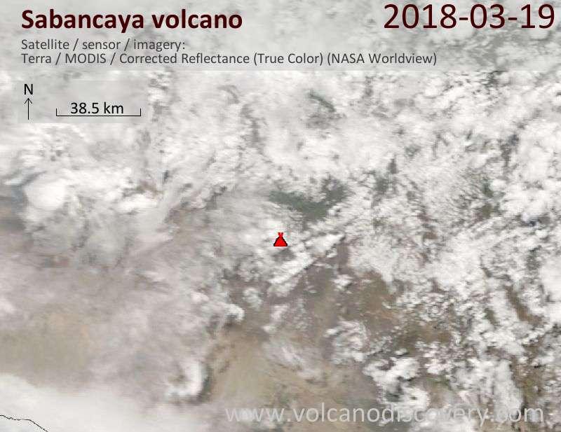 Satellite image of Sabancaya volcano on 19 Mar 2018