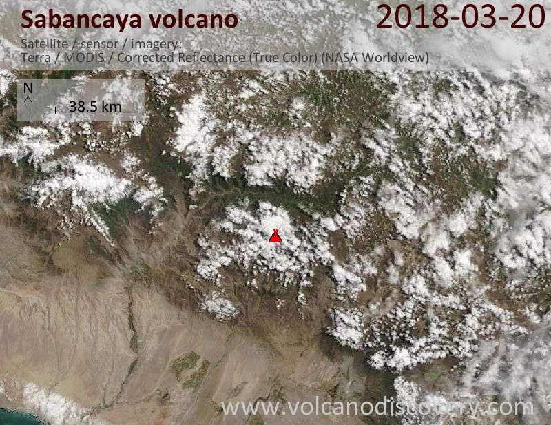 Satellite image of Sabancaya volcano on 20 Mar 2018
