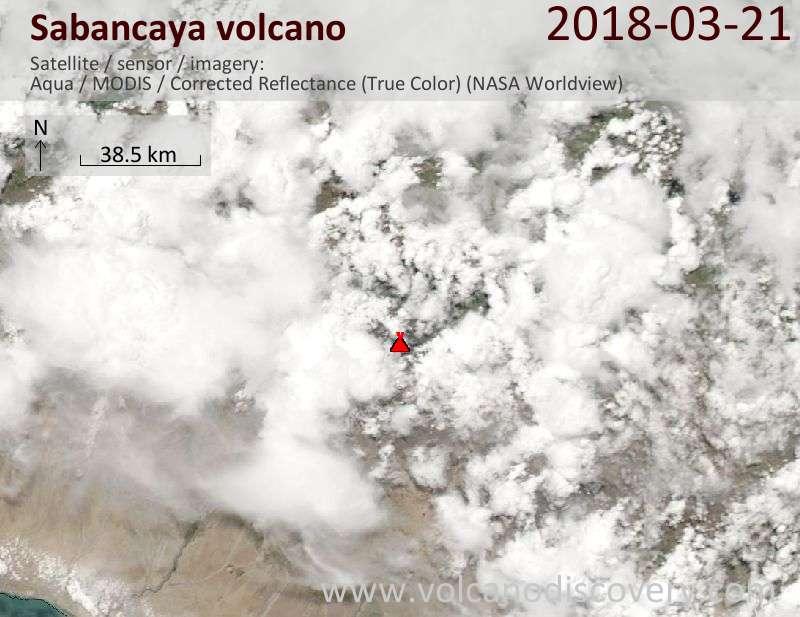 Satellite image of Sabancaya volcano on 21 Mar 2018