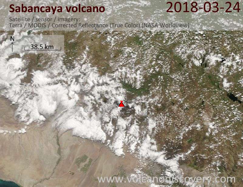 Satellite image of Sabancaya volcano on 24 Mar 2018