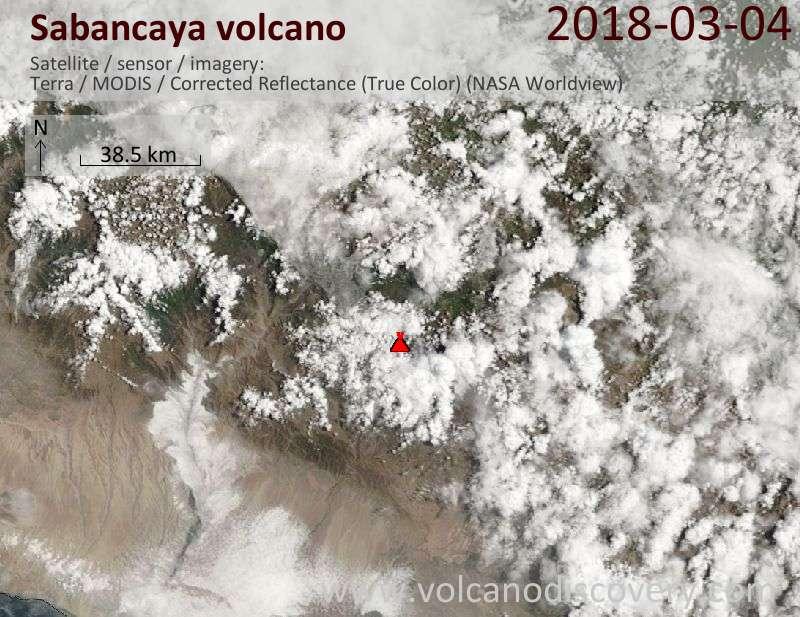 Satellite image of Sabancaya volcano on  4 Mar 2018