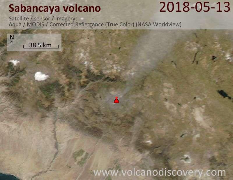 Satellite image of Sabancaya volcano on 14 May 2018