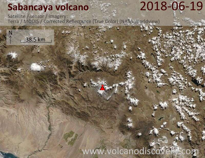Satellite image of Sabancaya volcano on 19 Jun 2018