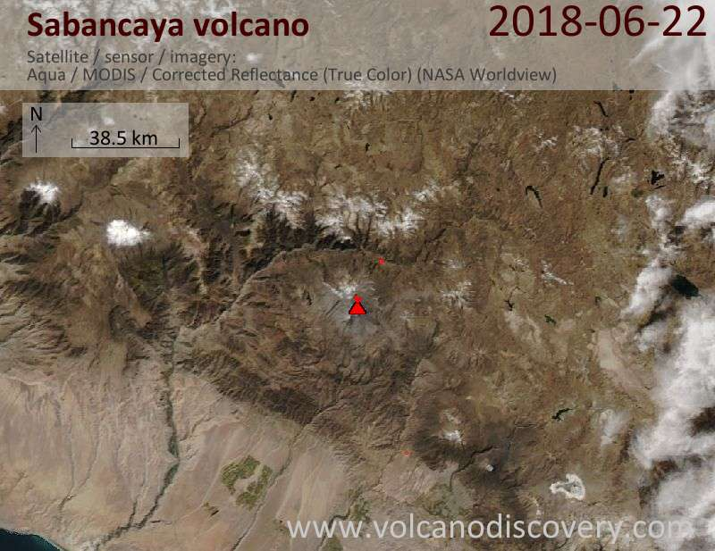 Satellite image of Sabancaya volcano on 22 Jun 2018