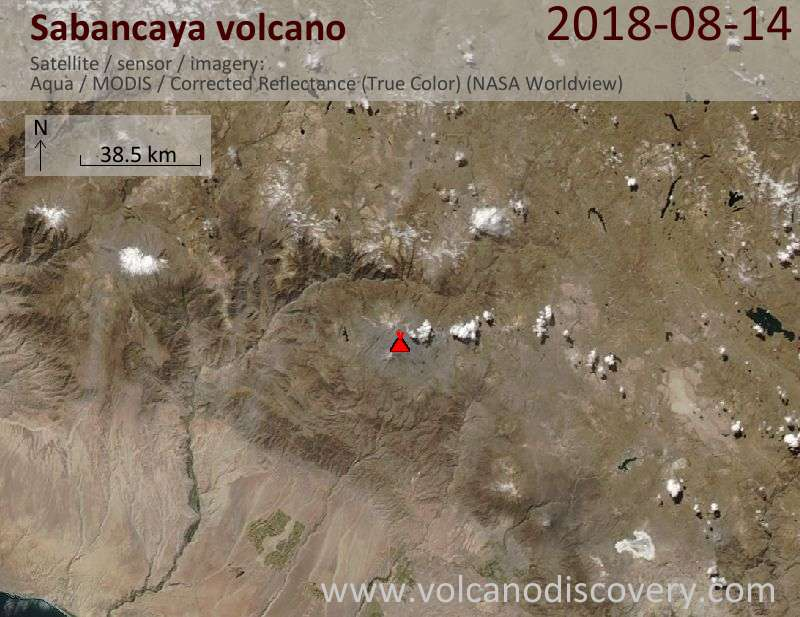 Satellite image of Sabancaya volcano on 14 Aug 2018