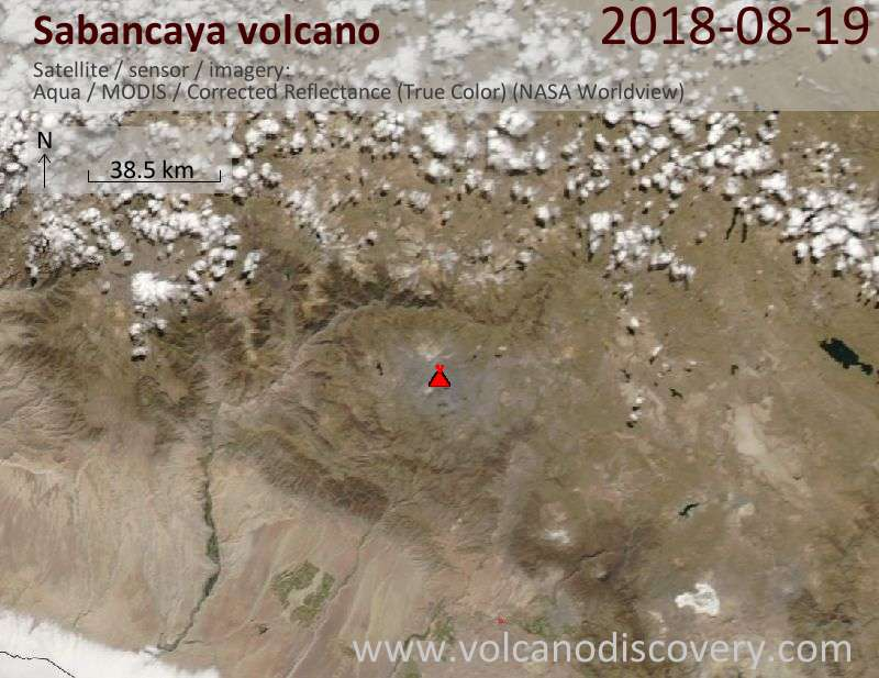 Satellite image of Sabancaya volcano on 19 Aug 2018