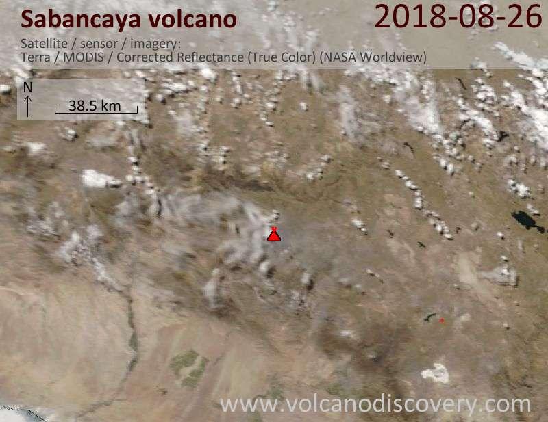 Satellite image of Sabancaya volcano on 26 Aug 2018