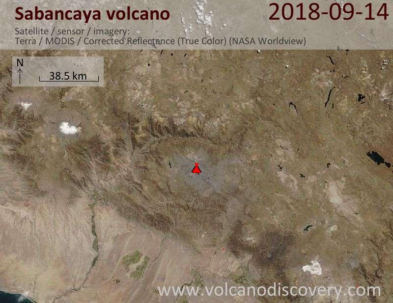 Satellite image of Sabancaya volcano on 14 Sep 2018