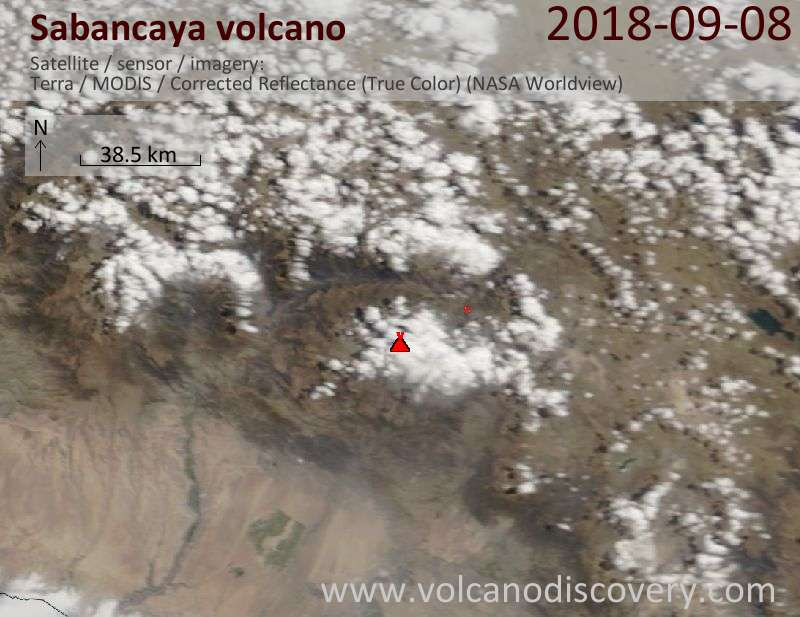 Satellite image of Sabancaya volcano on  8 Sep 2018