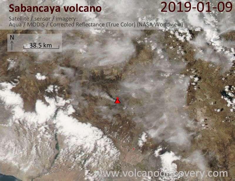 Satellite image of Sabancaya volcano on 10 Jan 2019