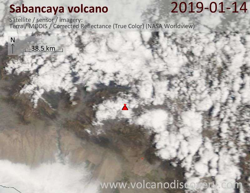 Satellite image of Sabancaya volcano on 14 Jan 2019