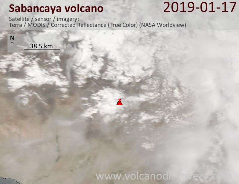 Satellite image of Sabancaya volcano on 17 Jan 2019
