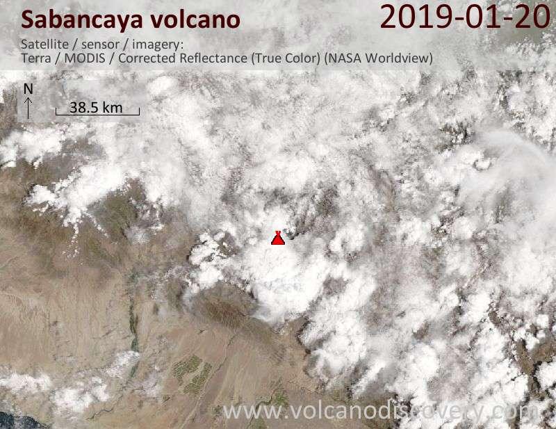 Satellite image of Sabancaya volcano on 20 Jan 2019
