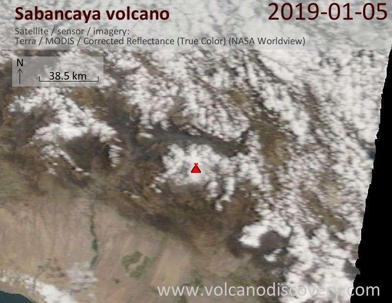 Satellite image of Sabancaya volcano on  5 Jan 2019
