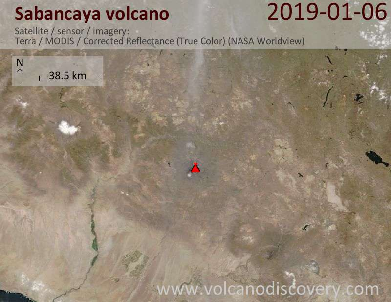 Satellite image of Sabancaya volcano on  6 Jan 2019
