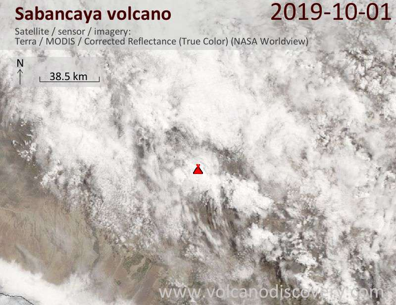 Satellite image of Sabancaya volcano on  1 Oct 2019
