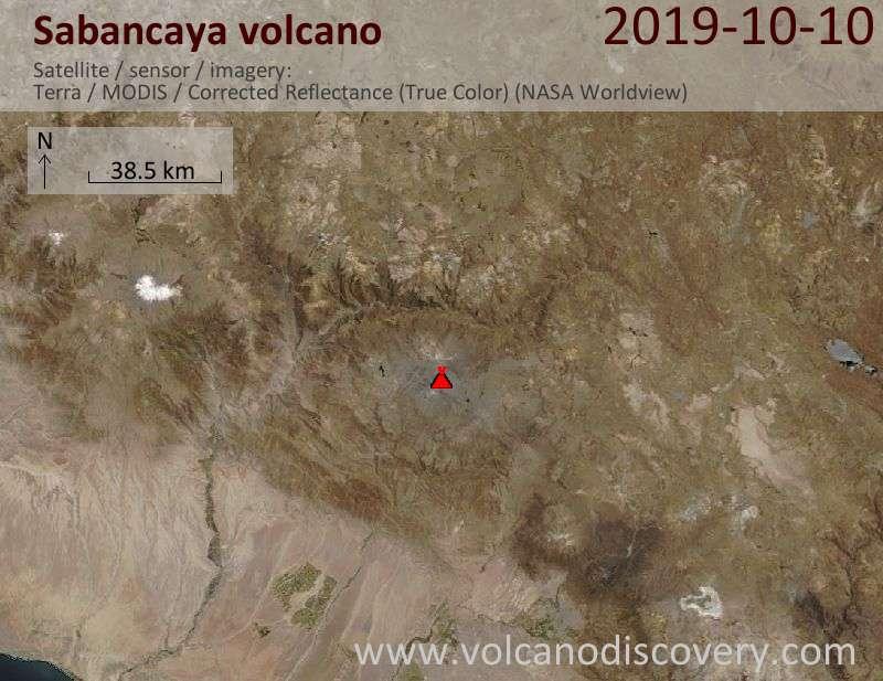 Satellite image of Sabancaya volcano on 10 Oct 2019