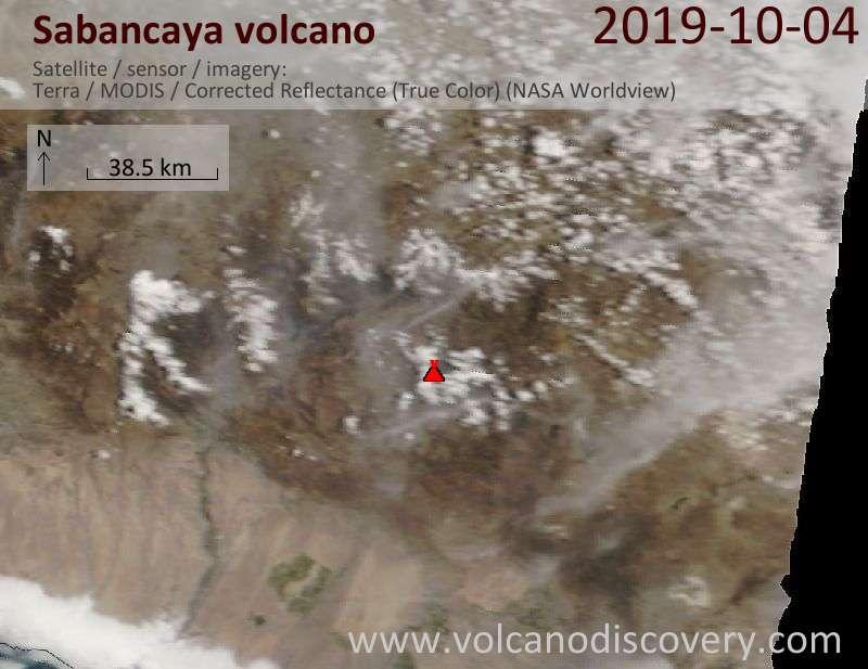 Satellite image of Sabancaya volcano on  4 Oct 2019