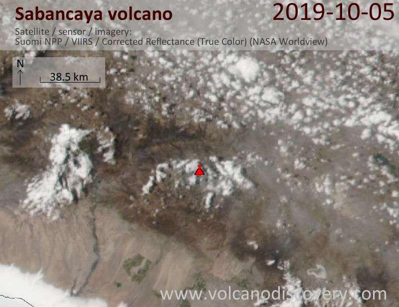 Satellite image of Sabancaya volcano on  6 Oct 2019