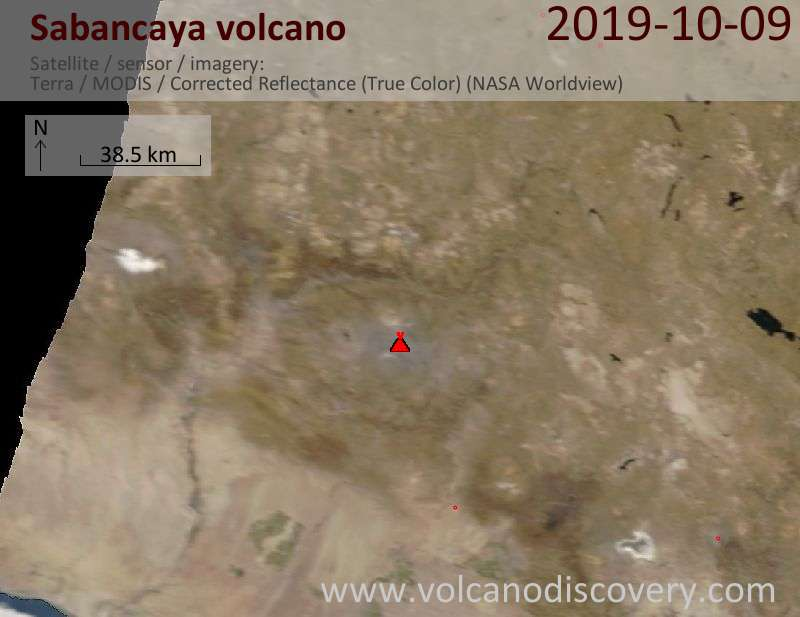 Satellite image of Sabancaya volcano on  9 Oct 2019