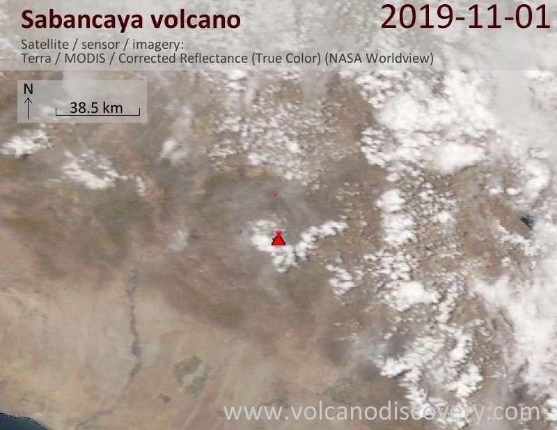 Satellite image of Sabancaya volcano on  1 Nov 2019