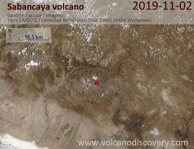 Satellite image of Sabancaya volcano on  2 Nov 2019