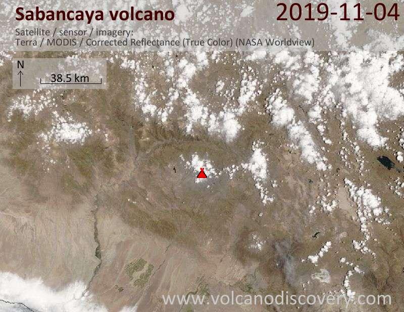Satellite image of Sabancaya volcano on  4 Nov 2019