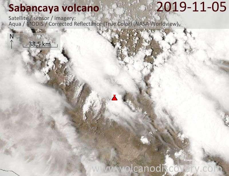 Satellite image of Sabancaya volcano on  5 Nov 2019