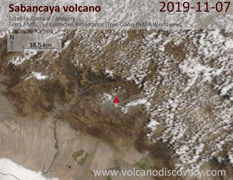 Satellite image of Sabancaya volcano on  7 Nov 2019