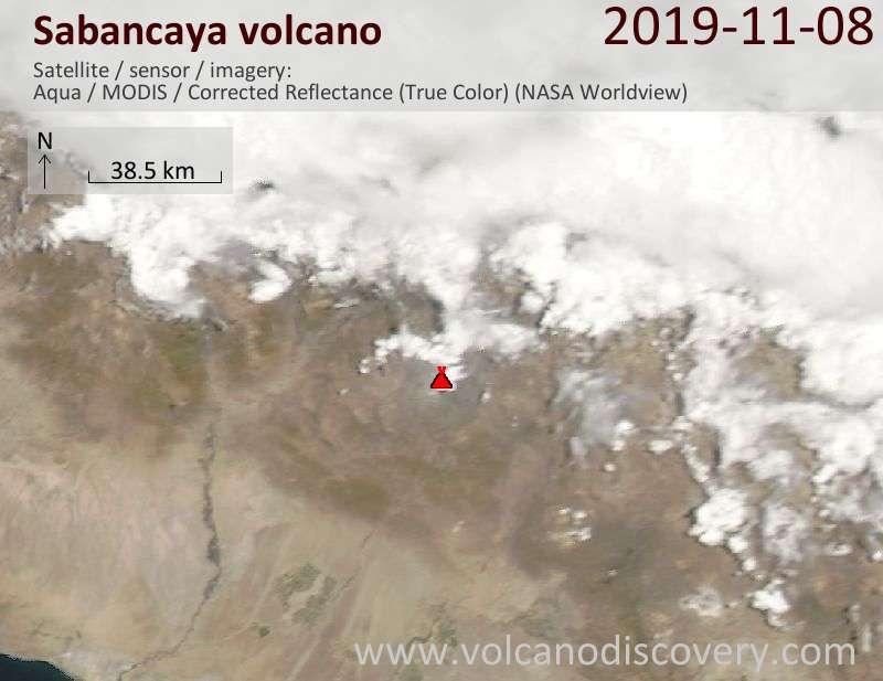 Satellite image of Sabancaya volcano on  9 Nov 2019