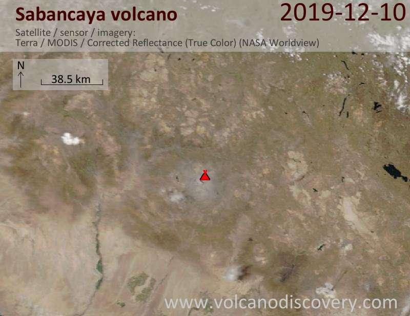 Спутниковое изображение вулкана Sabancaya 10 Dec 2019