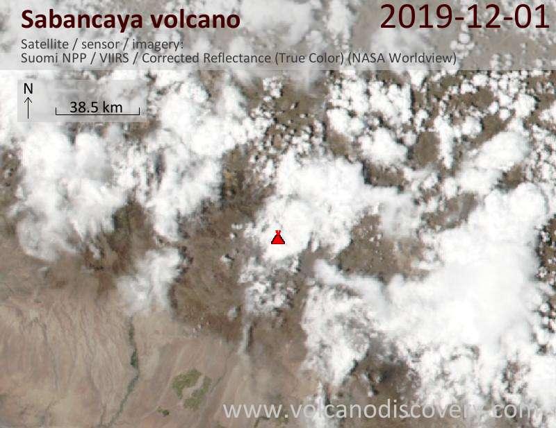 Satellite image of Sabancaya volcano on  2 Dec 2019